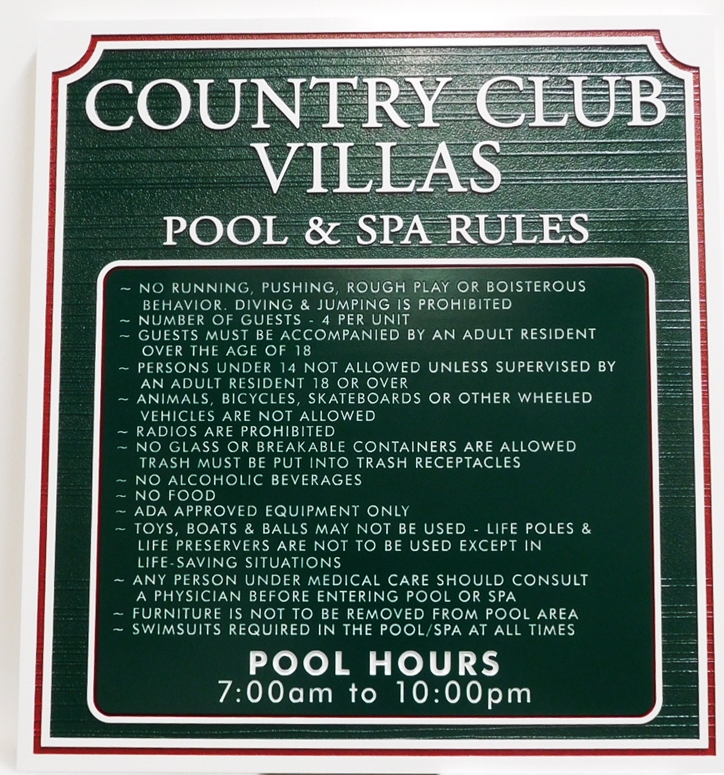 GB16221 - Carved, Engraved and Sandblasted Wood Grain High-Density-Urethane (HDU)  Pool and Spa Rules Sign  for Country Club Villas