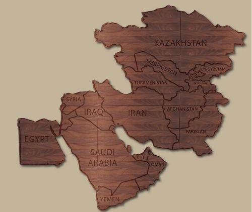 V31818A - Mahogany Wall Map of Mideast Countries Monitored by Central Army Command