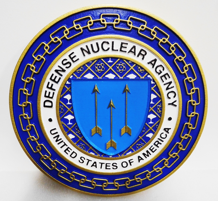 IP-1724 - Carved Plaque of the Seal of the Defense Nuclear Agency (DNA), 3-D Artist-Painted