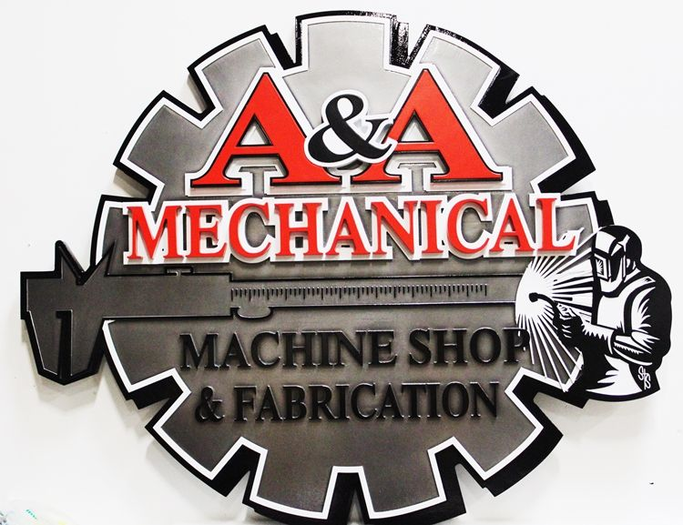 SA28504 -  Carved Multi-Level Raised Relief  Wall Plaque  for the A & A Machine Shop  with Welder and Gear Wheel as Artwork