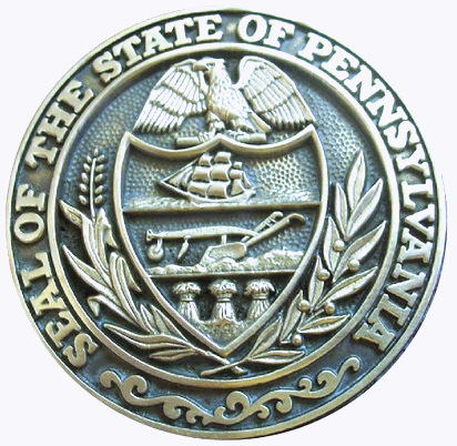 W32431- Carved Wall Plaque of the Seal of the State of Pennsylvania, Nickel-Silver Coated with Dark Patina