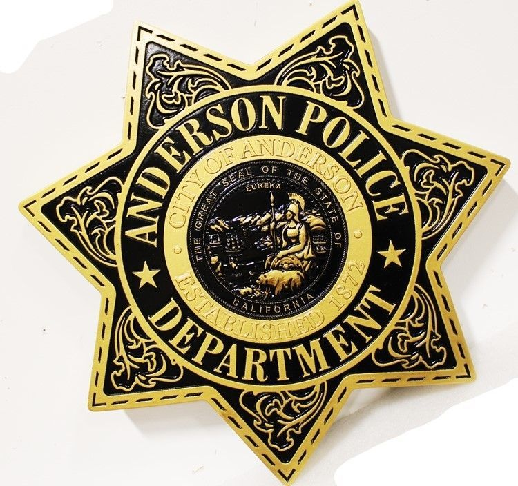 PP-1730 - Carved 3-D HDU Plaque of the Star Badge of the Police Department of Anderson, California