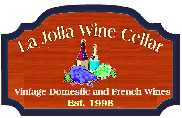 R27340 - Carved Redwood Plaque for La Jolla Wine Cellar