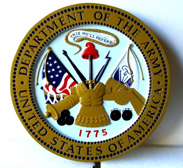 MP-1040 - Carved Plaque of the Great Seal of the US Army (USA), Artist Painted