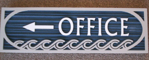 KA20520 - Carved Wood Grain HDU Office Sign, Blue with Decorative Carved Waves
