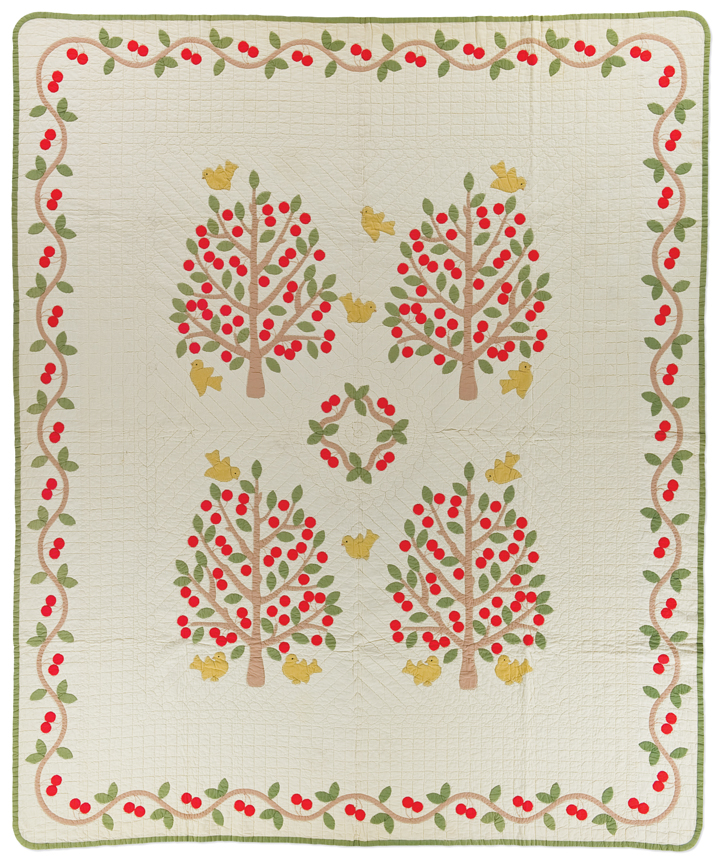 Cherry Tree, maker unknown, 1940-1950, probably made in the United States, hand appliqué, machine pieced, hand quilted, 92 x 78 inches, IQSCM 2012.013.0031, gift of Pat Cox