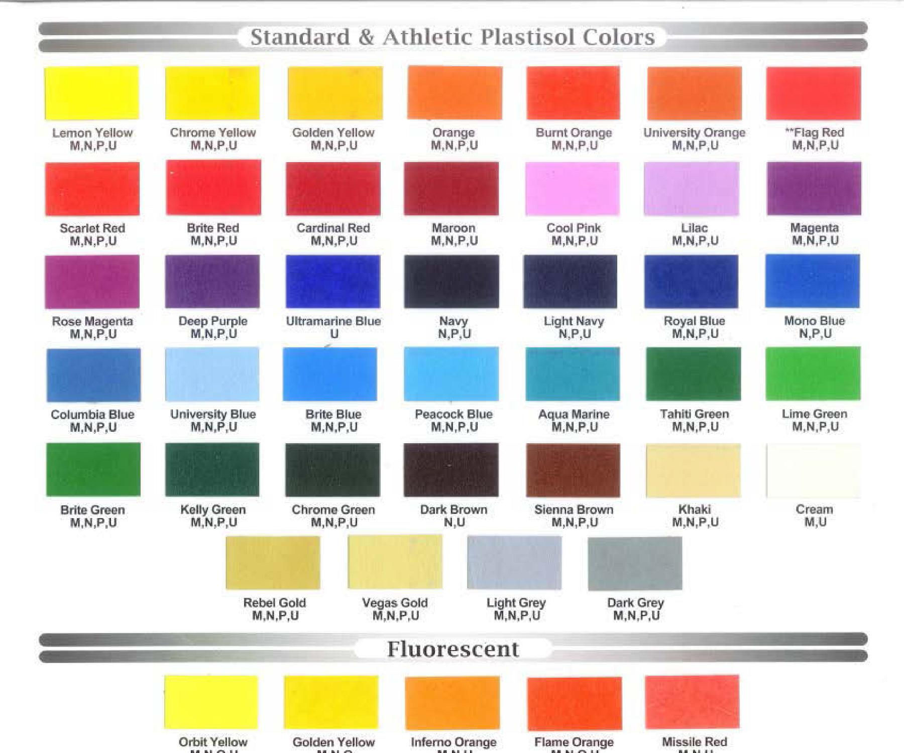 Screen Print Ink Color Options