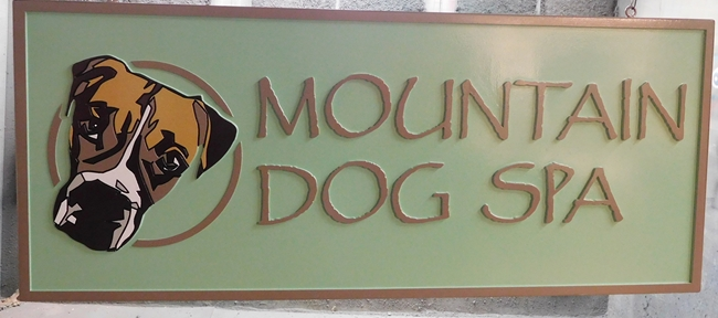 "S28021 -  Carved 2.5-D HDU Sign for the ""Mountain Dog Spa"" , with Dog's Head as Artwork"