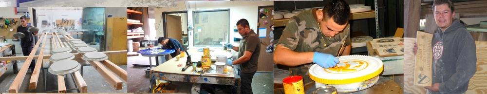 Artisans at Work in Art SignWorks paint shop.
