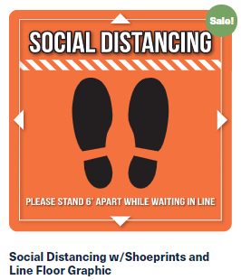 Social Distancing w/Shoeprints and Line Floor Graphic