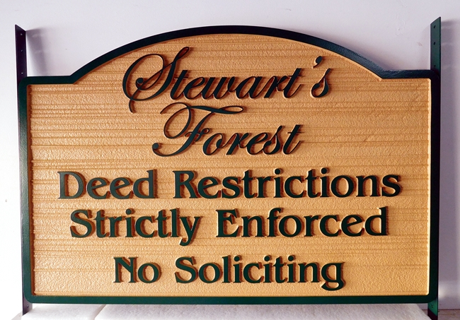 "KA20763 - Carved ""Deed Restrictions"" Sign for HOA, with Sandblasted Wood Grain Background and Two Steel Side Brackets for Installation Between Two Wood Posts"