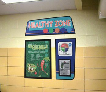 Food education display for elementary school, custom signs, food posters, nutrition education