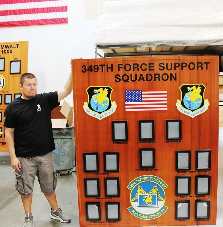 V31672 - Carved Redwood Photo Chain-of-Command  Board  for the the Air Force's 349th Force Support Squadron