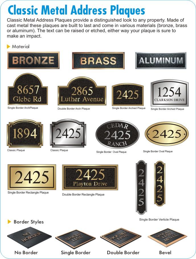 bronze address plaques
