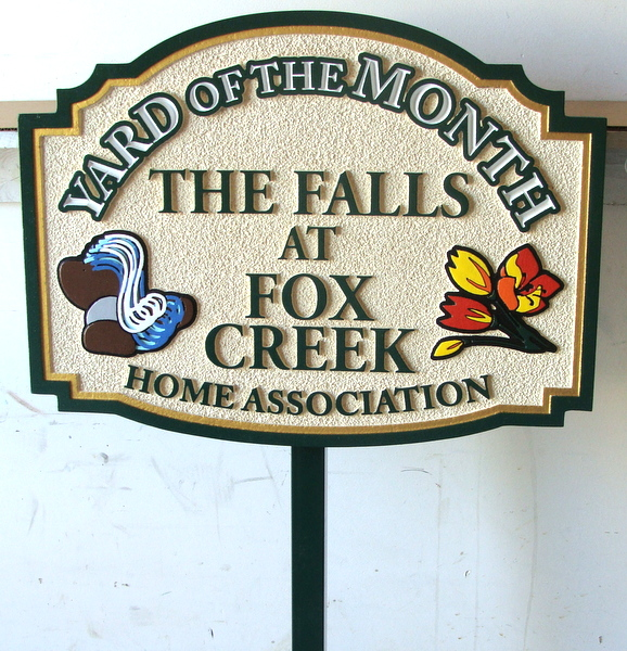 """KA20916 - Carved and Sandblasted HDU Yard-of-the-Month Sign for """"The Falls at Fox Creek"""" HOA"""