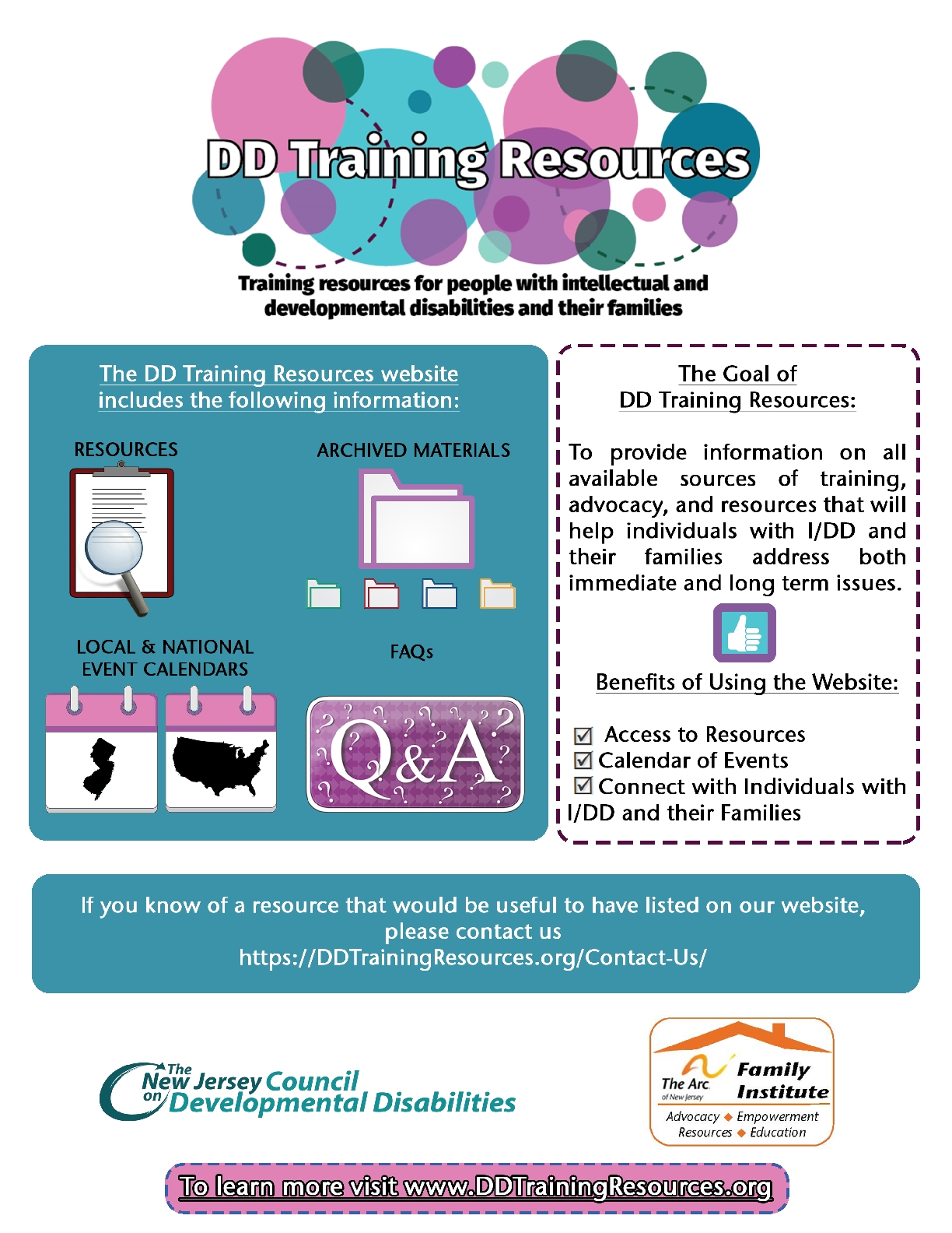 What is the DD Training Resources Website?