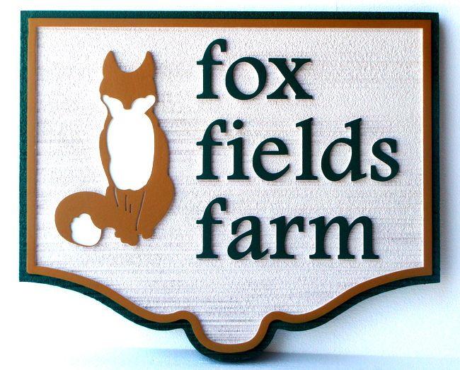 "O24613 - Carved  ""Fox Fields Farm"" Entrance Sign, with Cute Fox Sitting Up"