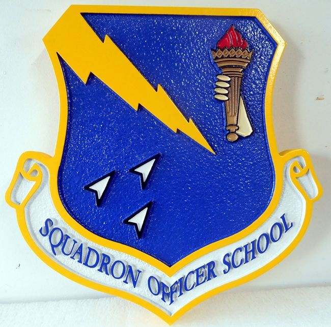 V31595 -  Carved Wall Plaque of Shield and Crest for the Squadron Officer School
