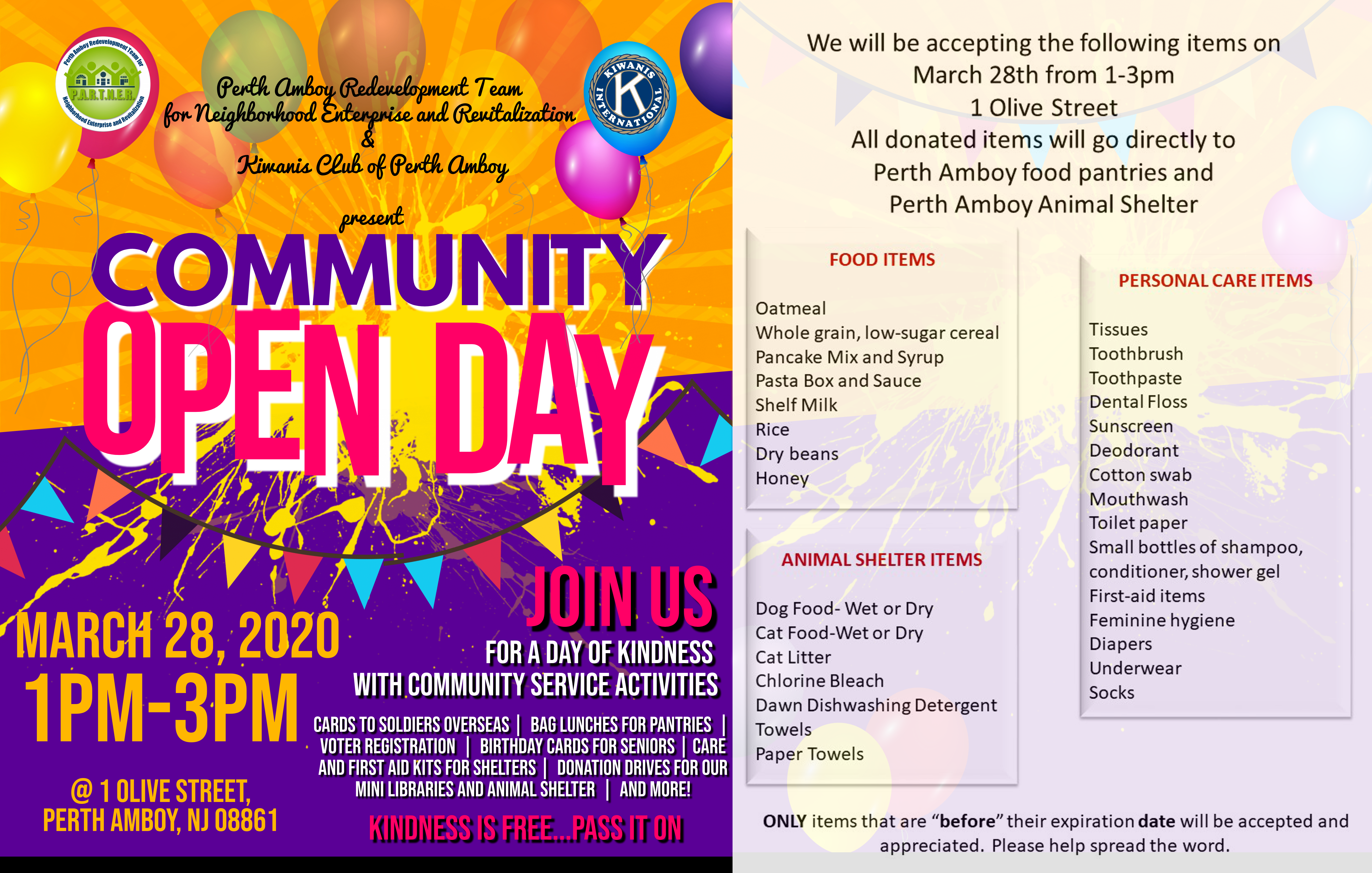 Community Open Day; A Day of Kindness with Community Service Activities
