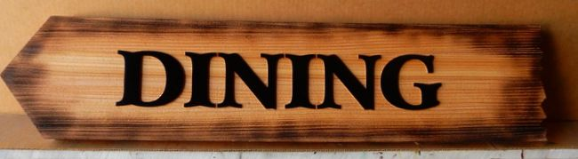 "T29429 -  Rustic Burnt  & Carved Cedar ""Dining"" Sign for Lodge"