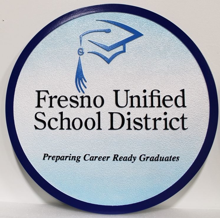 TP-1275 - Carved 2.5-D HDU Plaque of the Seal of the Fresno Unified School District