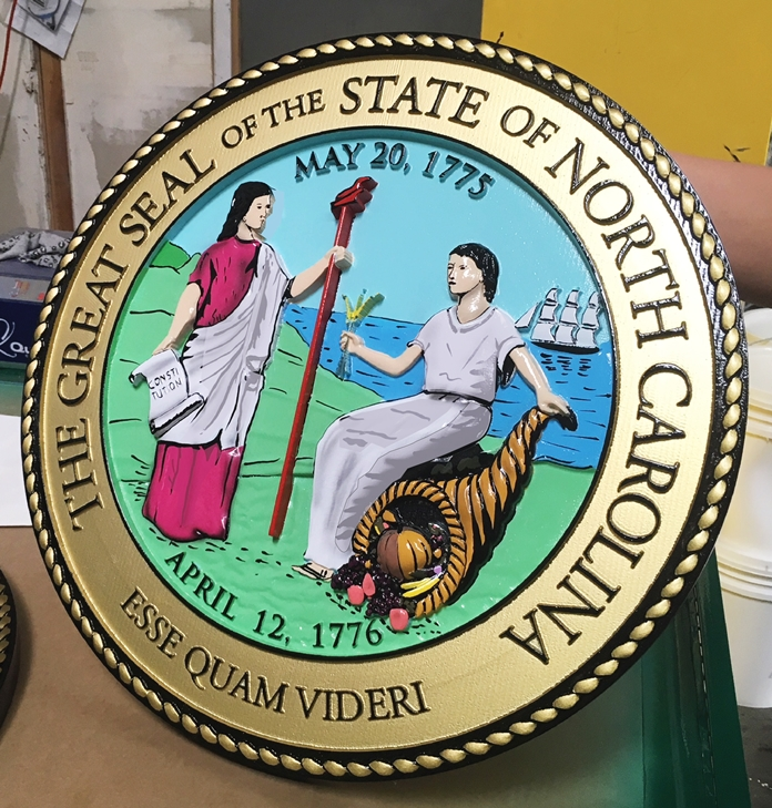 BP-1395 - Carved Plaque of the Great Seal of the State of North Carolina, 3-D Artist-Painted