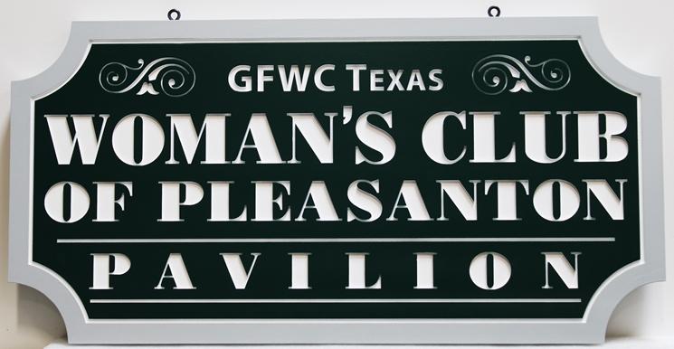 "GA16538 -  Engraved High-Density-Urethane (HDU) ""Women's Club of Pleasanton Pavilion""Sign"