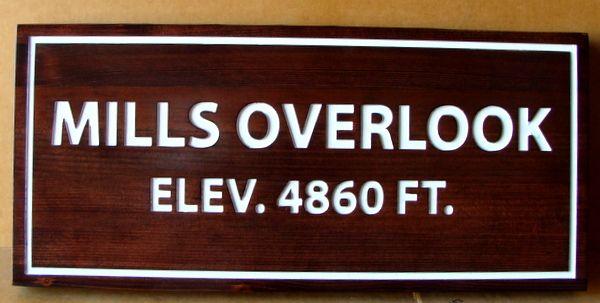 G16034 -  Engraved Cedar  High Density Urethane Sign for Mountain Overlook, Elev. 4860 Ft.