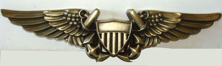 V31226- Large Brass-Coated Carved HDU Naval Aviator Officer Badge Plaque