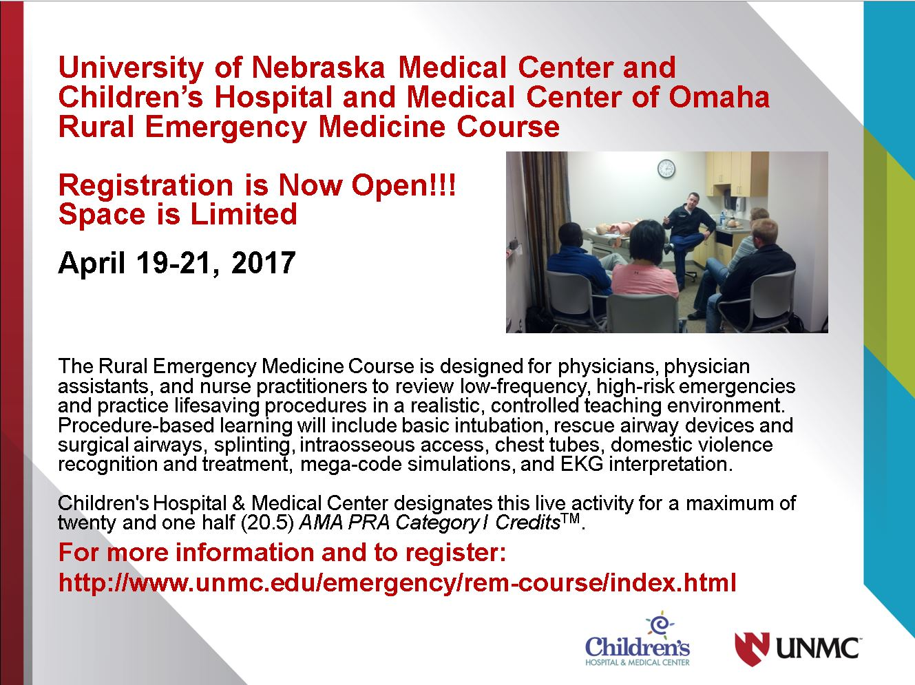 Click the box for more information on this Emergency Medicine Course from UNMC