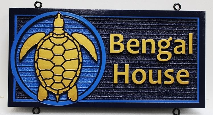 """L21663 - Carved and Sandblasted Cedar Wooden Sign for Seashore Cottage  with Turtle, """"Bengal House"""""""