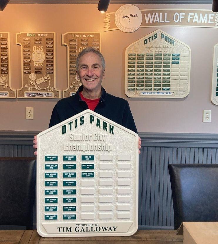 GA16553- Carved High-Density-Urethane (HDU) Perpetual Plaque for Otis Park's Senior City Champions