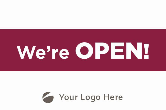 """We're Open"" Vinyl Banner"