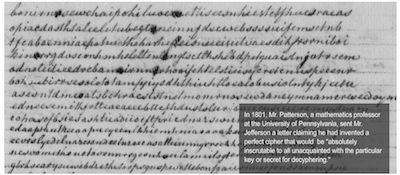 "1801: Patterson's ""Perfect Cipher"" Letter sent to Thomas Jefferson"
