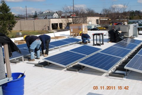 Solar Panel Photo with workers