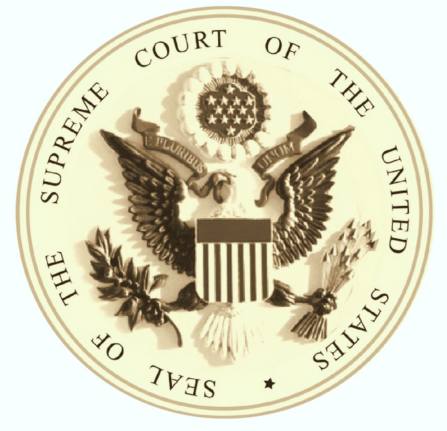 U30122 -  Carved 3D Monocolor Wall Plaque of the Seal for the US Supreme Court (Version 1)