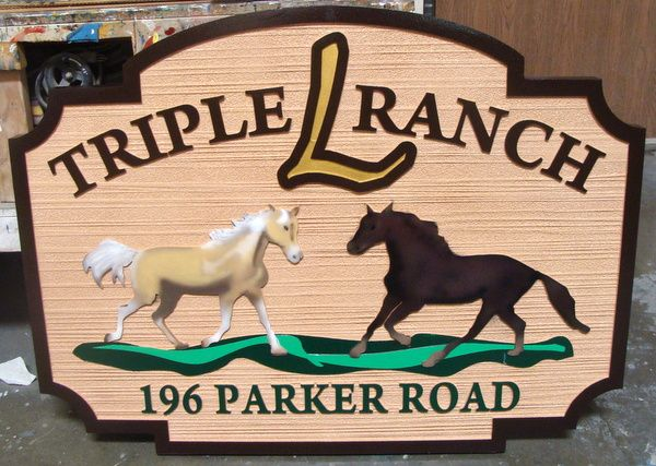 """P25114 - Sandblasted HDU Sign for """"Triple L Ranch"""", with Two Stallions"""