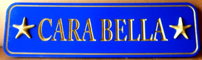 I18720 - Carved Quarterboard Property Name Sign with Starfishs