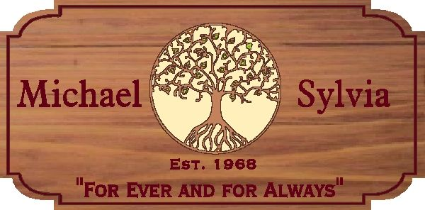 JG904 - Custom Cedar Wall Plaque for a Anniversary,  with Tree of Life