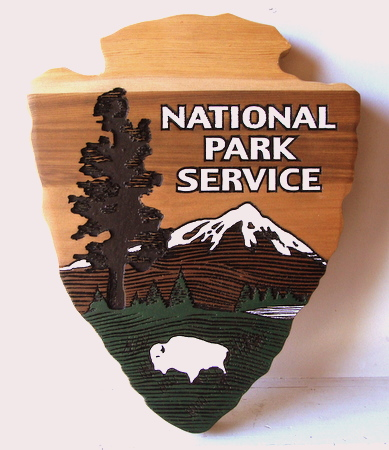"M3030- Carved Wood Sign or Wall Plaque for  National Park Service Logo ""Arrow"" (Galleries 16 and 30)"