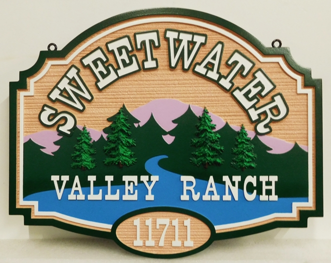 "M22388 - Carved and Sandblasted Wood Grain Sign for ""Sweetwater Ranch""  with Mountains, River, and  Evergreen Forest"
