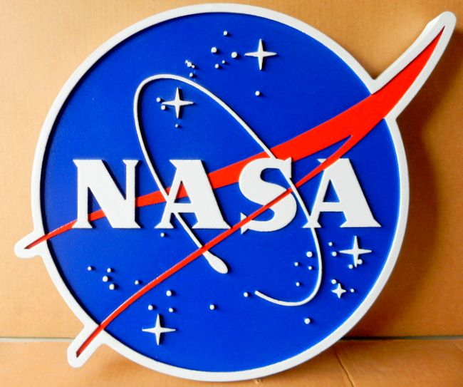 "U30526 -  Carved Wall Plaque of the National Aeronautical & Space administration (NASA) ""Meatball"" Heritage Seal"
