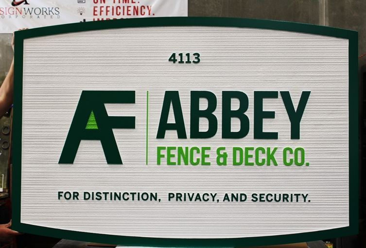S28180 - Carved and Sandblasted Wood Grain High-Density-Urethane Address and Identification Sign  for the AbbeyFence & Deck Company