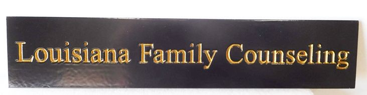 B11175 - Carved, HDU Sign in Black, White and Gold (24K Gold Leaf Text) Made for Family Counseling Practice.