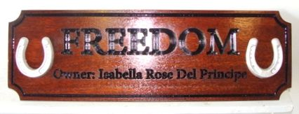 "O24274 - Engraved Mahogany Ranch Sign ""Freedom"" with Carved Horseshoes"