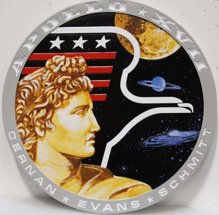 U30530 - Carved 2.5-D Artist-Painted HDU  plaque commemorating NASA's  Apollo XVII Mission