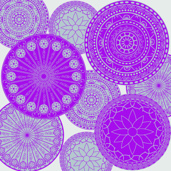 Purple and Grey Decorative Circles