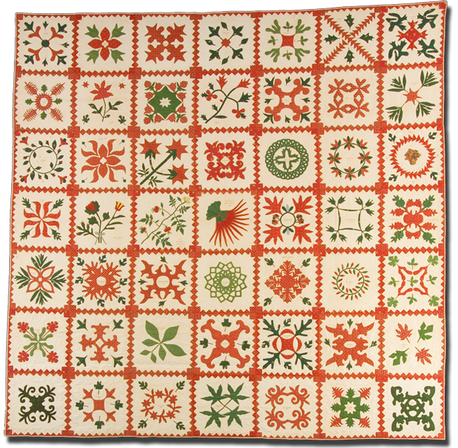 Album, Hargest Family Quilt, probably made in Baltimore, Maryland, dated 1845, 95 x 95, IQSCM 2005.022.0001
