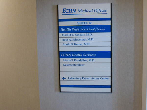 Directional Wayfinding, Interior Hallway, Suite Directory Sign, Individual Inter-Changeable Colored Tenant Panels