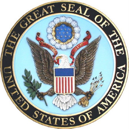 U30030 - Full Color with Gold Leaf 3D Carved HDU US Great Seal Wall Plaque